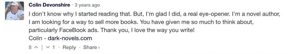 Colin Devonshire, novel author said he loves how Tim Kock writes