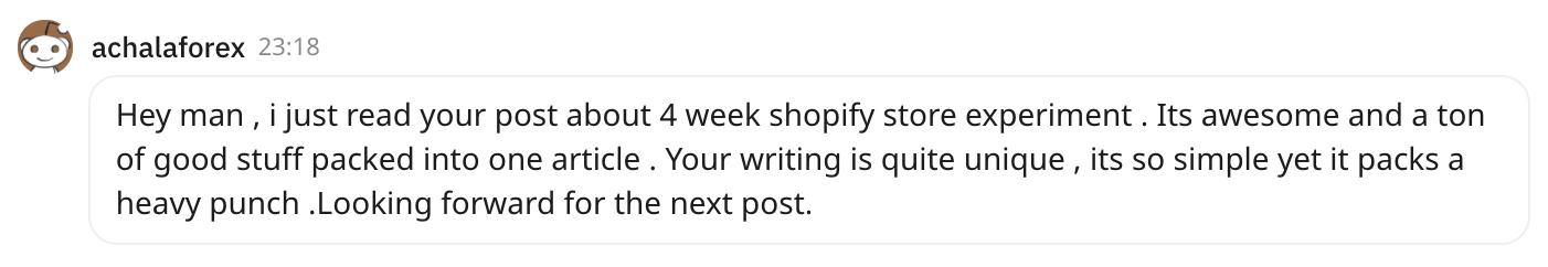 achalaforex, Reddit user says Tim Kocks writing is quite unique