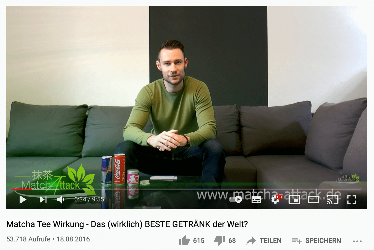 Tim Kock's first YouTube video for his matcha tea Shopify store