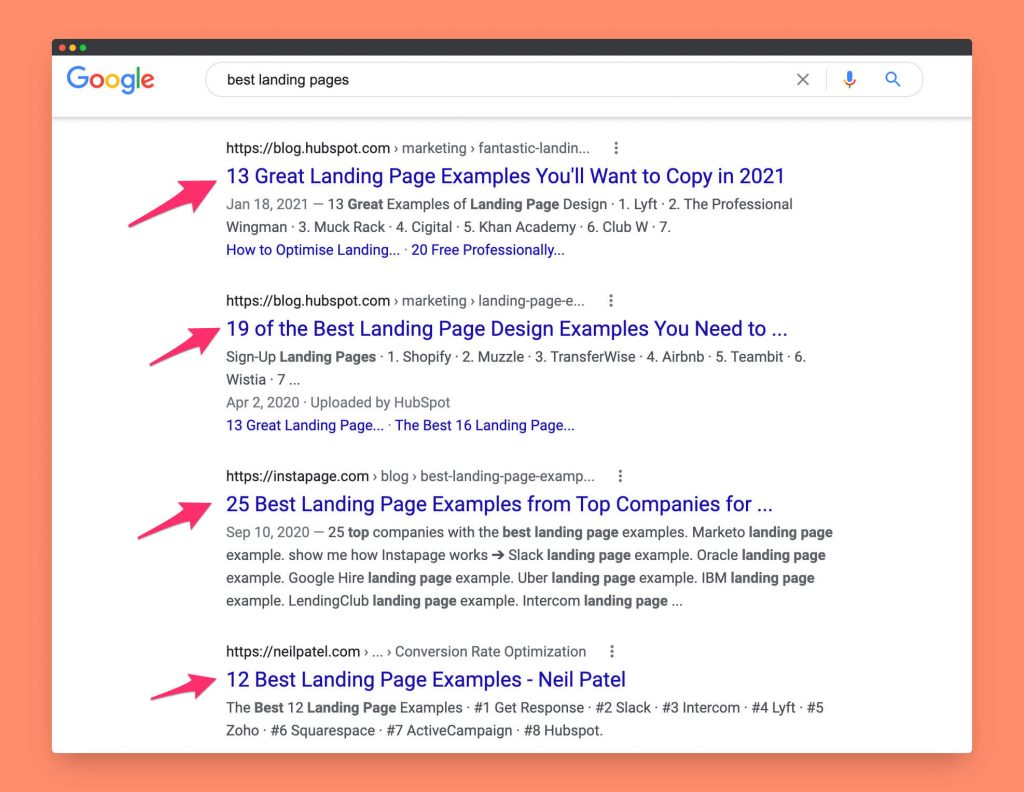 "The Google search results for they long tail keyword ""best landing pages"""