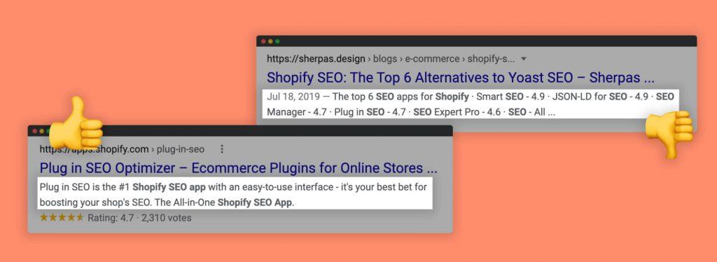 Two example screenshots of SEO meta descriptions