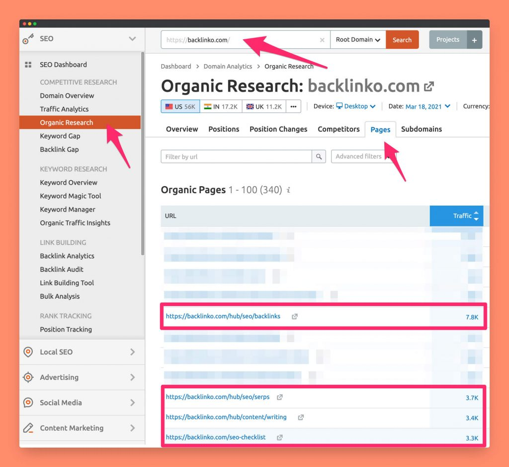 The organic research tool by SEMRush