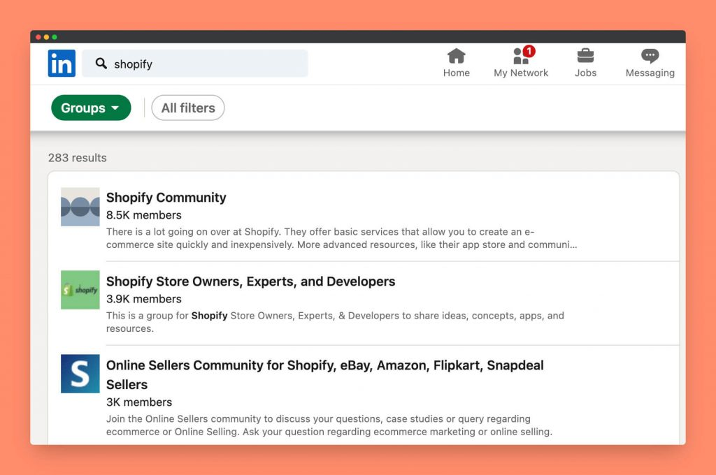 Shopify related LinkedIn groups to share content