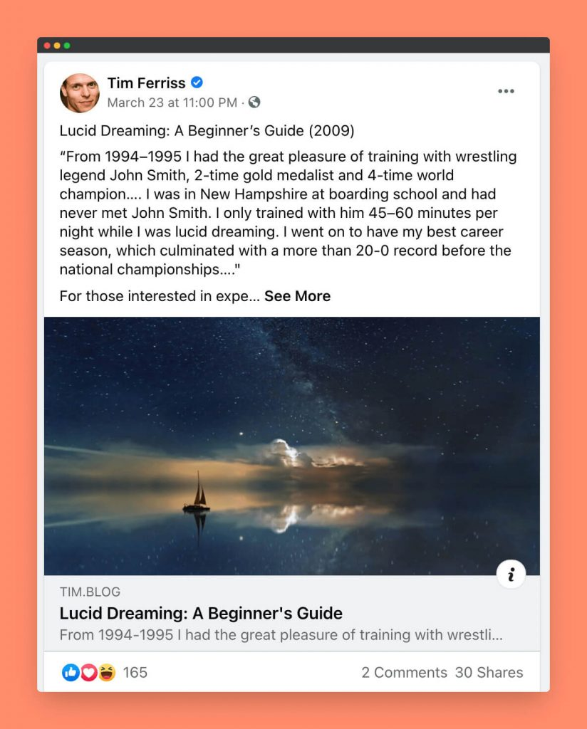 An example social media post of the author of four hour workweek Tim Ferriss