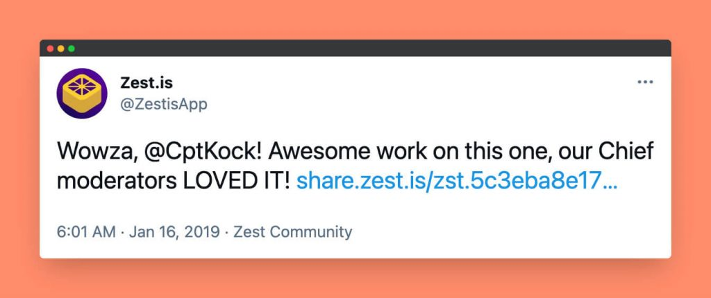 Tim Kocks Oberlo case study was shared on Twitter by Zest.is